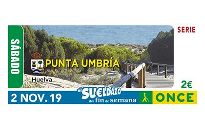 Cupón de la ONCE dedicado a Punta Umbría (Huelva) 021119