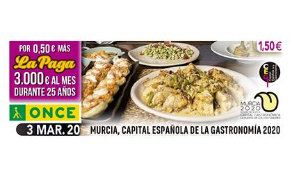 Cupón de la ONCE dedicado a Murcia Capital Española de la Gastronomía 2020