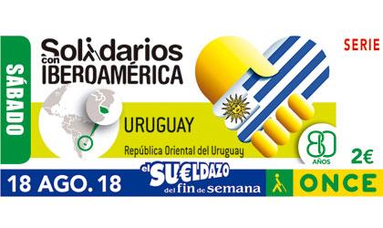 Cupón del 18 de agosto dedicado a Uruguay dentro de la serie Solidarios con Iberoamérica