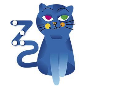 El gato Zeta, con los puntos en braille sobre su cola