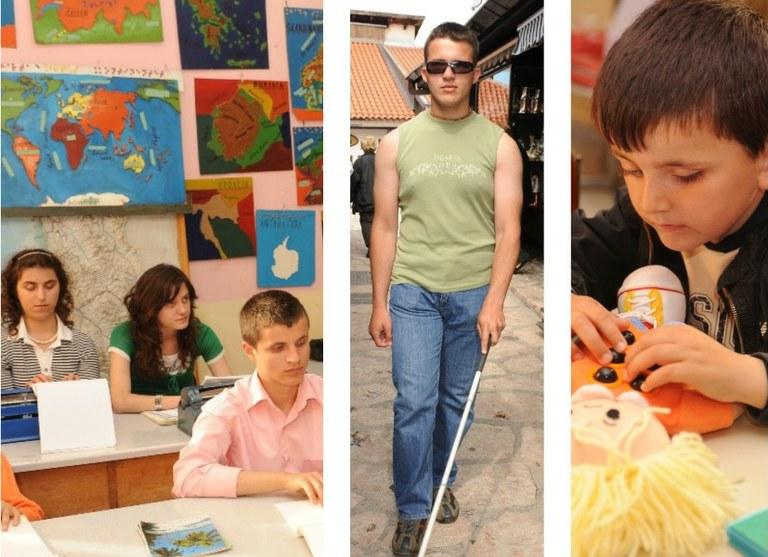 Distintas imágenes de la escuelas para niñas y niños ciegos del proyecto de cooperación de la ONCE en Los Balcanes