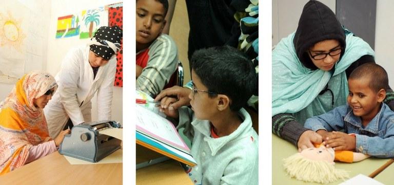Distintas imágenes de las escuelas para niños y niñas con discapacidad visual del proyecto de la ONCE en los campamentos saharauis