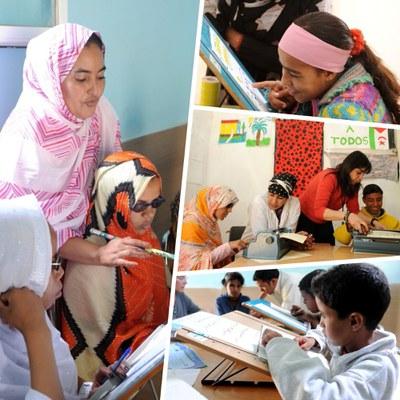 Collage de imágenes de las escuelas saharauis para niñas y niños ciegos
