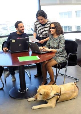 Una trabajadora ciega en su puesto de trabajo junto a su perro guía y sus compañeros
