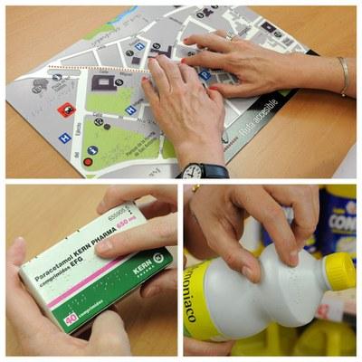 Collage con diferentes ejemplos de etiquetado braille