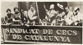 Compains en el balcón con el Sindicats de Cecs de Catalunya