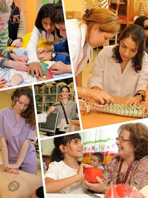Collage con varios momentos de la educación de alumnado con discapacidad visual