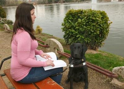 Un chica ciega lle un libro en braille en el parque junto a su perro