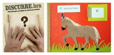 Collage con la imagen de la portada de la revista Discurre y un cuento en relieve y braille